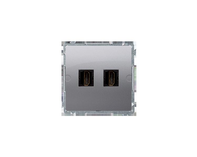 Gniazdo HDMI podwójne srebrny mat, metalizowany BMGHDMI2.01/43
