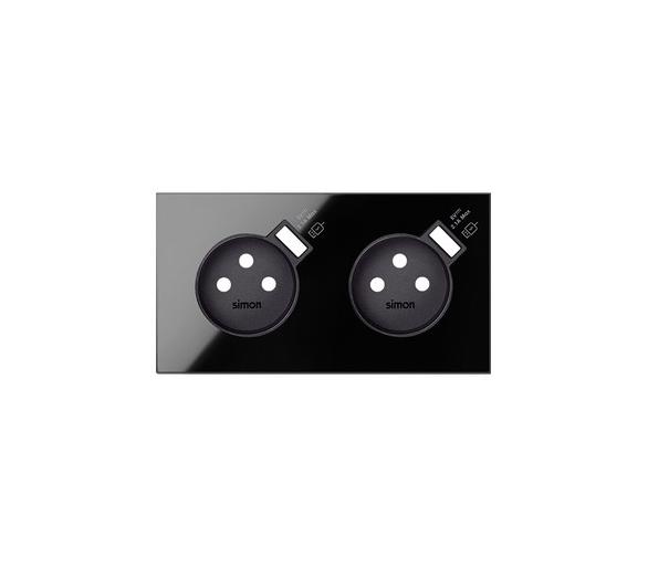 Panel 2-krotny 2 gniazda z 2 zintegrowanymi ładowarkami USB SmartCharge 2,1 A, czarny 10020229-138 Simon100