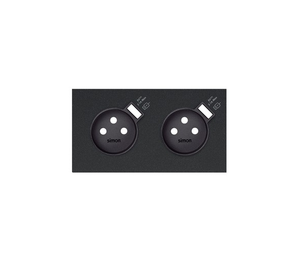 Panel 2-krotny 2 gniazda z 2 zintegrowanymi ładowarkami USB SmartCharge 2,1 A, czarny mat 10020229-238 Simon100