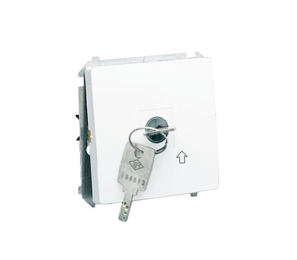 """Łącznik na kluczyk chwilowy (przycisk) 2 pozycyjny """"0-I"""" biały 5A MP1K.01/11"""