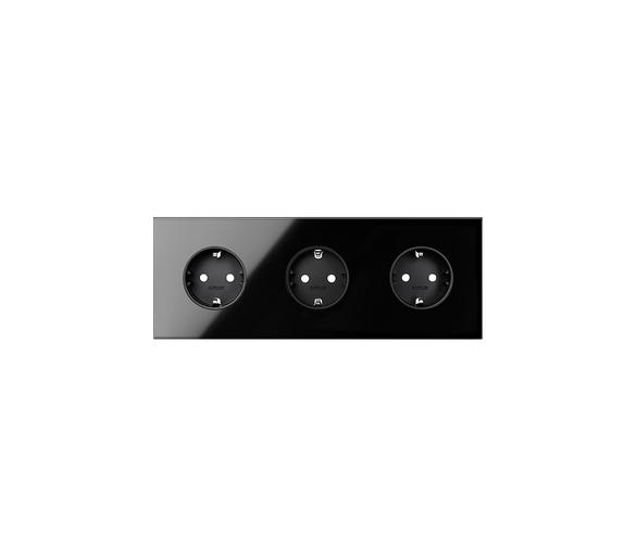 Panel 3-krotny 3 gniazda, czarny 10020302-138 Simon100
