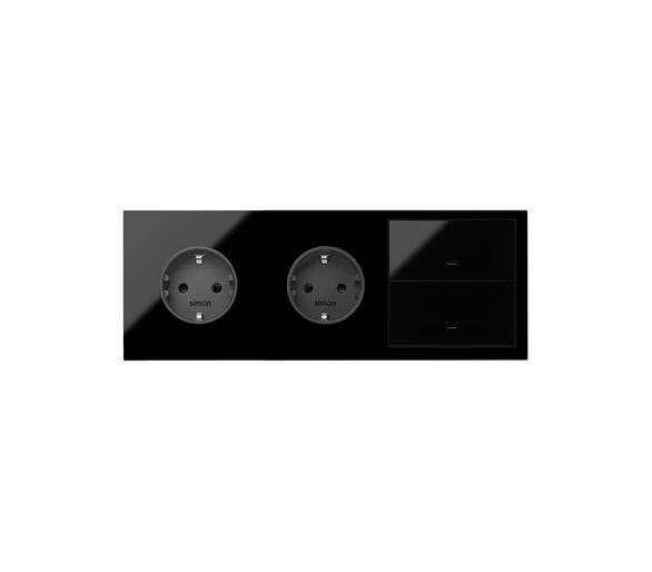 Panel 3-krotny 2 gniazda + 2 klawisze, czarny 10020310-138 Simon100