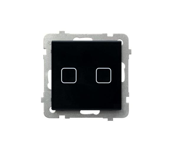 SONATA TOUCH Łącznik dotykowy dwugrupowy świecznikowy z podświetleniem czarne szkło ŁPD-2RS/m/32