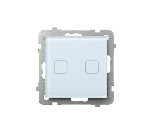SONATA TOUCH Łącznik dotykowy podwójny schodowy/podwójny krzyżowy z podświetleniem białe szkło ŁPD-26RS/m/31