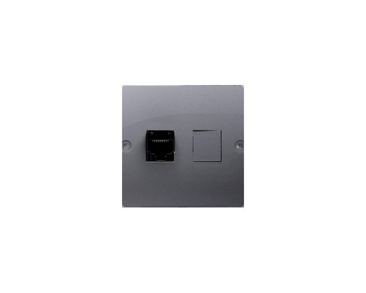 Gniazdo telefoniczne pojedyncze RJ12 (moduł) srebrny mat, metalizowany BMT1.02/43