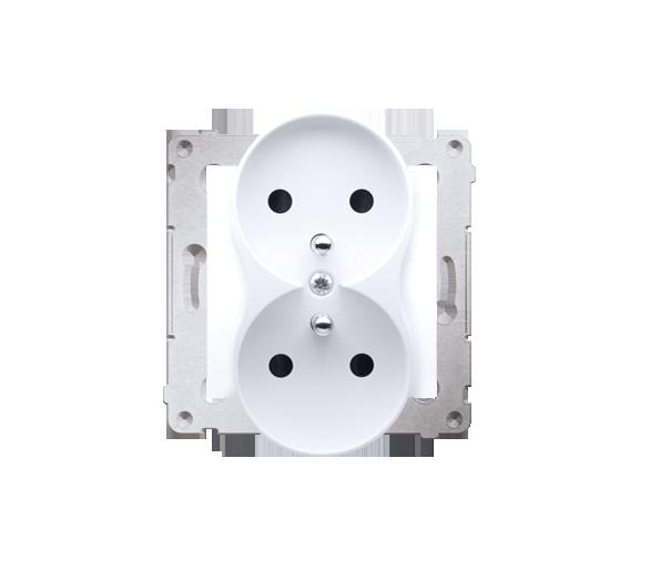 Gniazdo wtyczkowe podwójne z uziemieniem z przesłonami - do Ramek NATURE (moduł) 16A 250V, zaciski śrubowe, biały DGZ2MZN.01/11