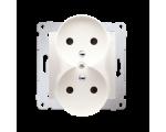 Gniazdo wtyczkowe podwójne z uziemieniem z przesłonami - do Ramek NATURE (moduł) 16A 250V, zaciski śrubowe, kremowy DGZ2MZN.01/4