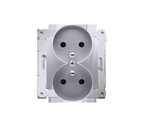 Gniazdo wtyczkowe podwójne z uziemieniem z przesłonami - do Ramek NATURE (moduł) 16A 250V, zaciski śrubowe, srebrny mat, metaliz