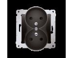 Gniazdo wtyczkowe podwójne z uziemieniem z przesłonami - do Ramek NATURE (moduł) 16A 250V, zaciski śrubowe, antracyt, metalizowa