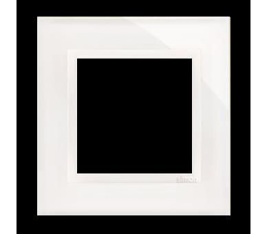 Ramka 1-krotna szklana biała perła