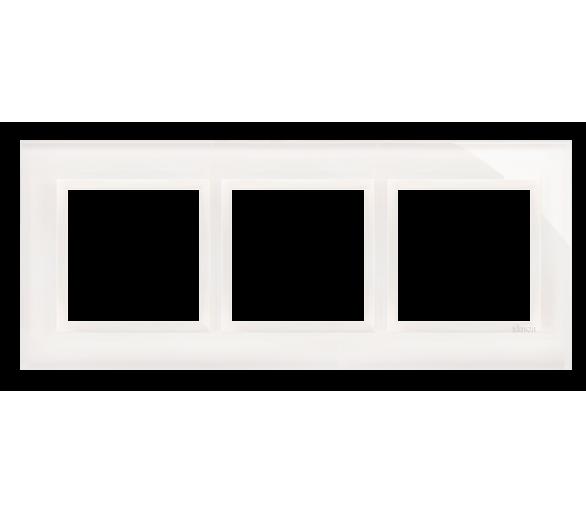 Ramka 3-krotna szklana biała perła DRN3/70