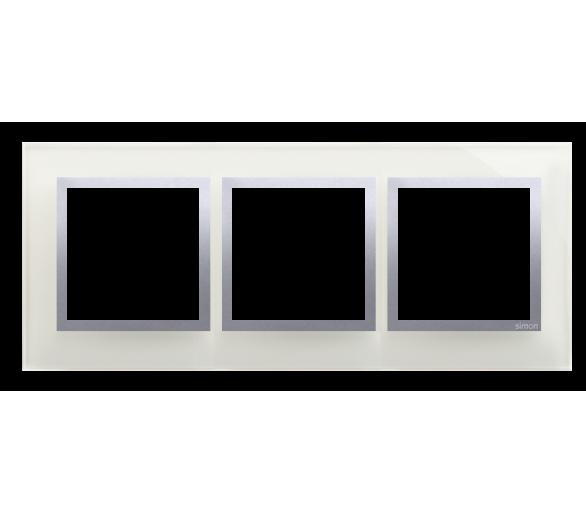Ramka 3-krotna szklana srebrna mgła DRN3/71