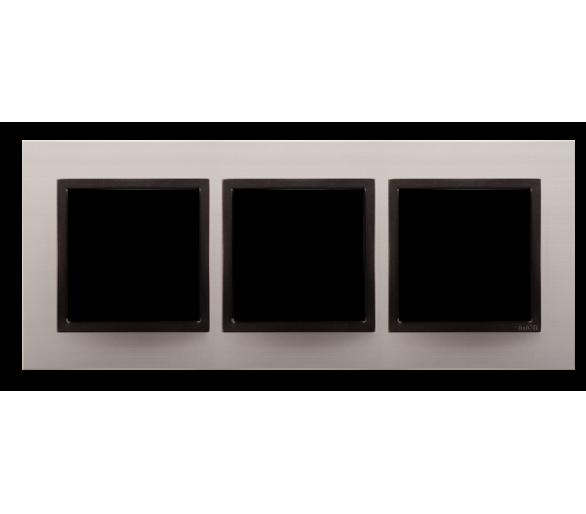 Ramka 3-krotna metalowa satynowy mrok DRN3/80