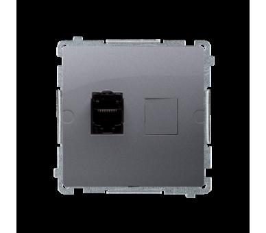 Gniazdo komputerowe pojedyncze ekranowane RJ45 kategoria 6, z przesłoną przeciwkurzową (moduł) srebrny mat, metalizowany BM61E.0