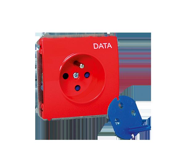 Gniazdo wtyczkowe pojedyncze DATA z kluczem uprawniającym 16A czerwony MGD1.01/22