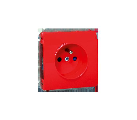 Gniazdo wtyczkowe pojedyncze z uziemieniem z przesłonami torów prądowych 16A czerwony MGZD.01/22