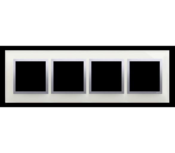 Ramka 4- krotna szklana srebrna mgła DRN4/71