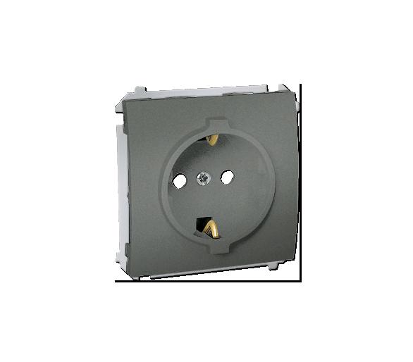 Gniazdo wtyczkowe pojedyncze z uziemieniem typu Schuko z przesłonami torów prądowych 16A grafitowy, metalizowany MGSZ1.01/25
