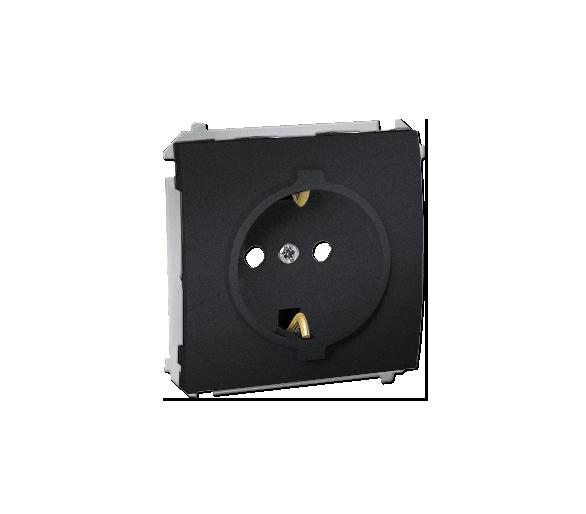 Gniazdo wtyczkowe pojedyncze z uziemieniem typu Schuko z przesłonami torów prądowych 16A grafit MGSZ1.01/28