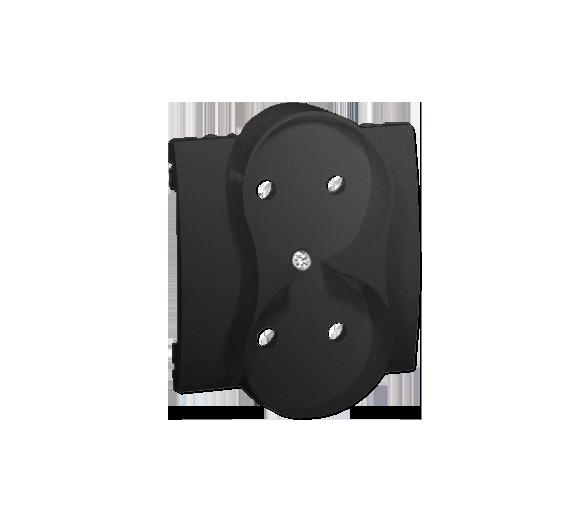 Pokrywa do gniazda wtyczkowego podwójnego bez uziemienia grafit mat, metalizowany MG2MP/28