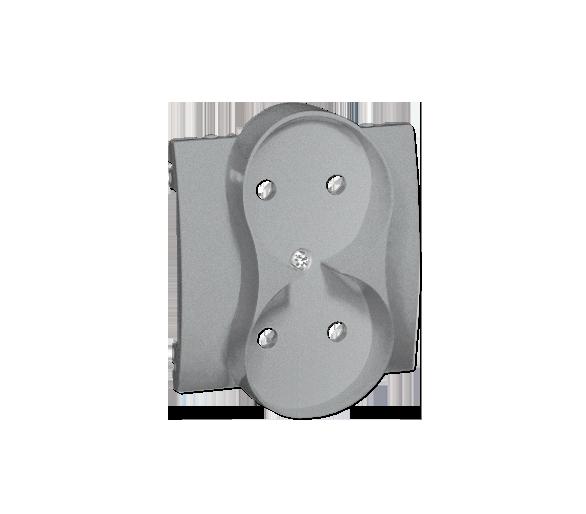 Pokrywa do gniazda wtyczkowego podwójnego bez uziemienia - przesłony torów prądowych aluminiowy, metalizowany MG2MZP/26