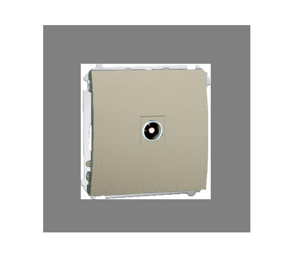 Gniazdo antenowe R-TV przelotowe platynowy, metalizowany MAP1.01/27