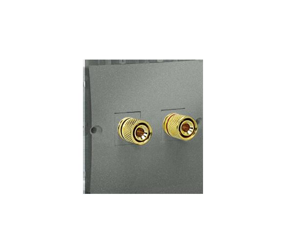 Gniazdo głośnikowe pojedyncze grafitowy, metalizowany MGL2.02/25