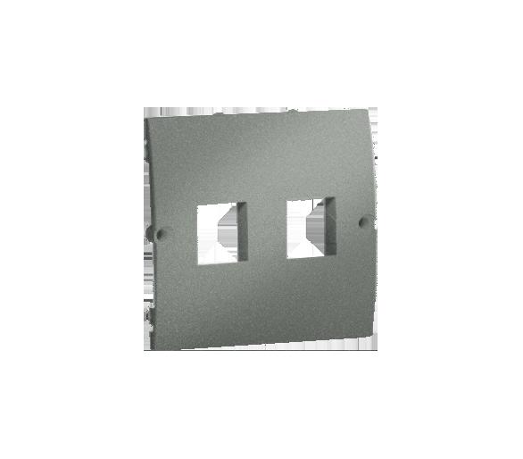Pokrywa gniazd teleinformatycznych na Keystone płaska podwójna grafitowy, metalizowany