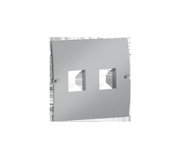 Pokrywa gniazd teleinformatycznych na Keystone płaska podwójna aluminiowy, metalizowany