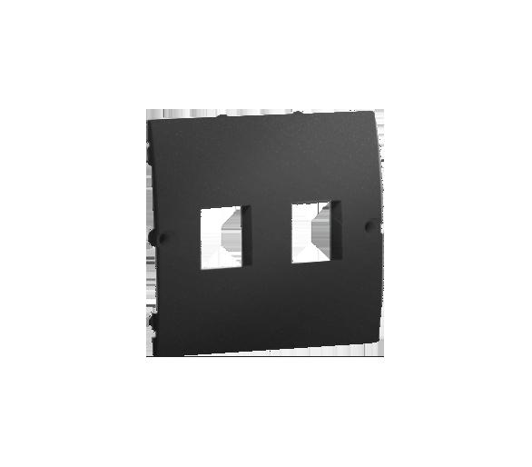 Pokrywa gniazd teleinformatycznych na Keystone płaska podwójna grafit mat, metalizowany