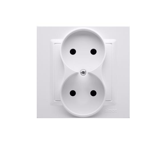 Gniazdo wtyczkowe podwójne bez uziemienia biały 16A CG2/11
