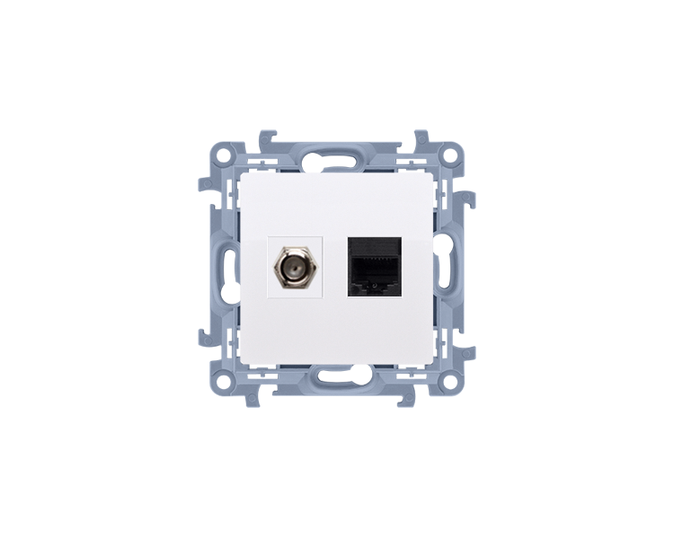 """Gniazdo antenowe typu """"F"""" + komputerowe RJ45 kat.5e biały CASFRJ455.01/11"""