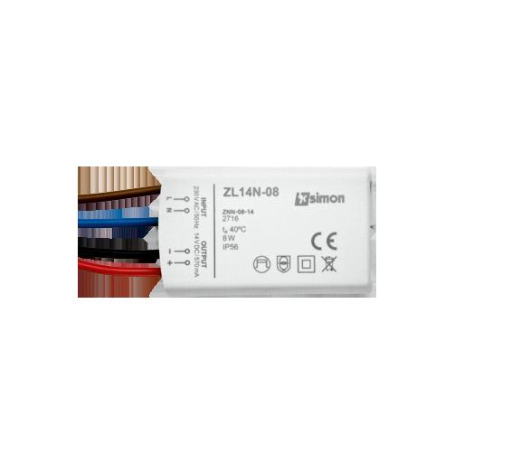 Zasilacz LED natynkowy 14V, DC,  8W. ZL14N-08