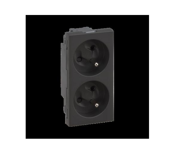 Gniazdo podwójne SIMON 500 z bolcem uziemiającym 16A 250V szybkozłącza/nożowe 100×50mm szary grafit 50000468-038