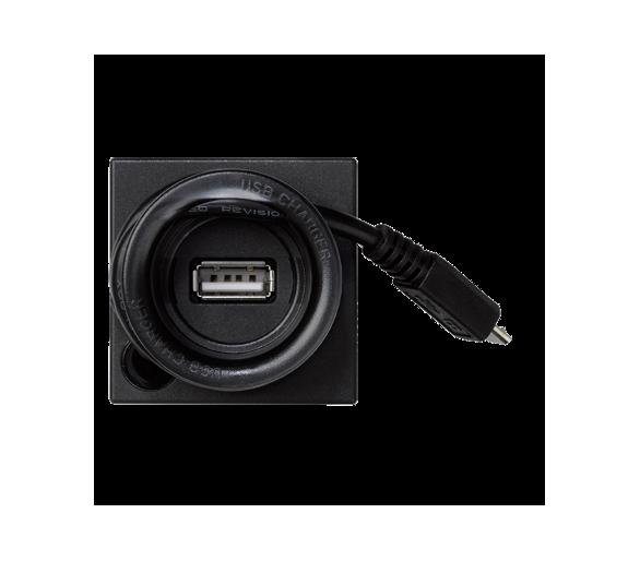 Ładowarka USB K45 USB-A + micro USB 5V DC 2A 45×45mm szary grafit K126A/14