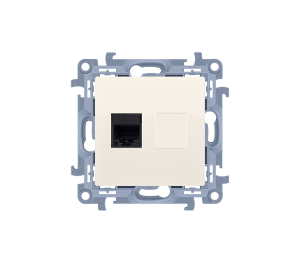 Gniazdo komputerowe pojedyncze RJ45 kategoria 6 kremowy C61.01/41