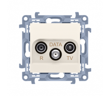 Gniazdo antenowe R-TV-DATA tłum.:10dB kremowy CAD.01/41