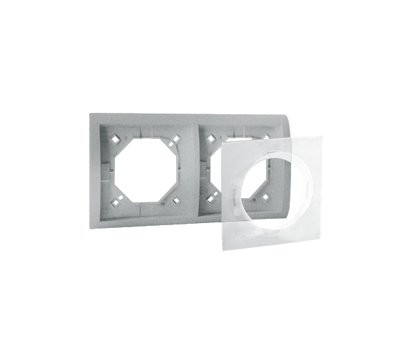 Ramka 2- krotna IP44 aluminiowy, metalizowany MR2B/26