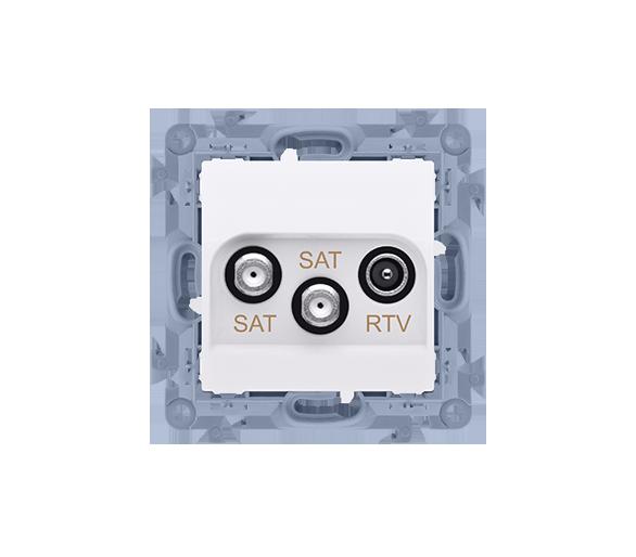 Gniazdo antenowe SAT-SAT-RTV satelitarne podwójne tłum.:1dB biały CASK2.01/11