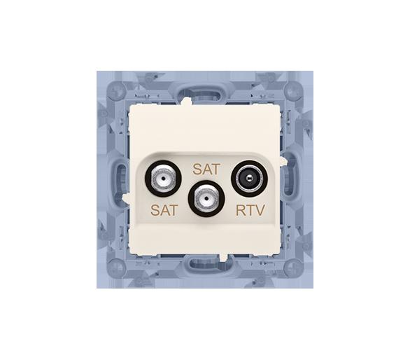 Gniazdo antenowe SAT-SAT-RTV satelitarne podwójne tłum.:1dB kremowy CASK2.01/41