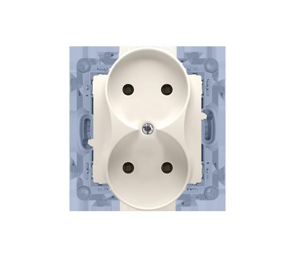 Gniazdo wtyczkowe podwójne bez uziemienia kremowy 16A