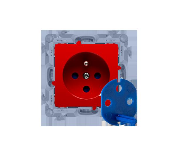 Gniazdo wtyczkowe pojedyncze DATA z kluczem uprawniającym czerwony 16A