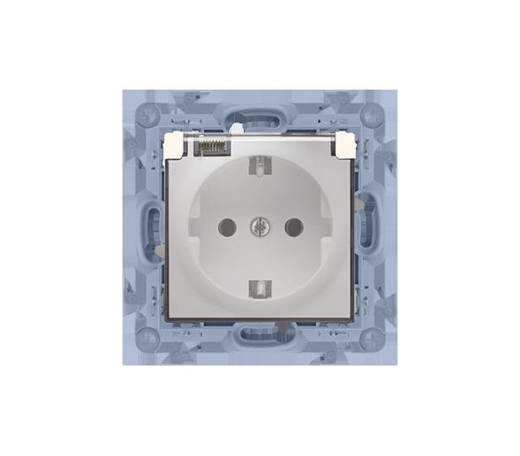 Gniazdo wtyczkowe pojedyncze do wersji IP44 z przesłonami torów prądowych - z uszczelką - klapka w kolorze transparentnym kremow