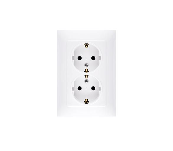 Gniazdo wtyczkowe podwójne z uziemieniem typu Schuko z przesłonami torów prądowych biały 16A