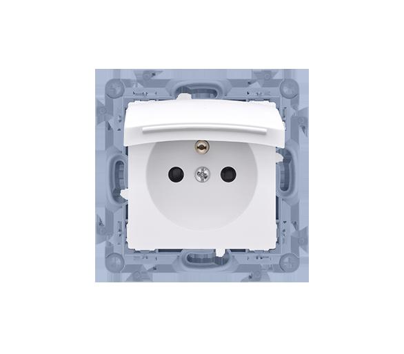 Gniazdo wtyczkowe pojedyncze do wersji IP44 z przesłonami torów prądowych - z uszczelką - klapka w kolorze pokrywy biały 16A