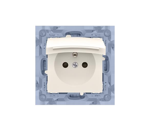 Gniazdo wtyczkowe pojedyncze do wersji IP44 z przesłonami torów prądowych - z uszczelką - klapka w kolorze pokrywy kremowy 16A