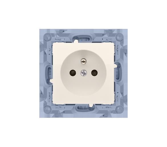 Gniazdo wtyczkowe pojedyncze z uziemieniem z przesłonami torów prądowych kremowy 16A