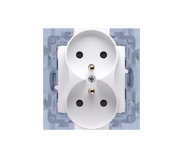 Gniazdo wtyczkowe podwójne z uziemieniem z przesłonami biały 16A