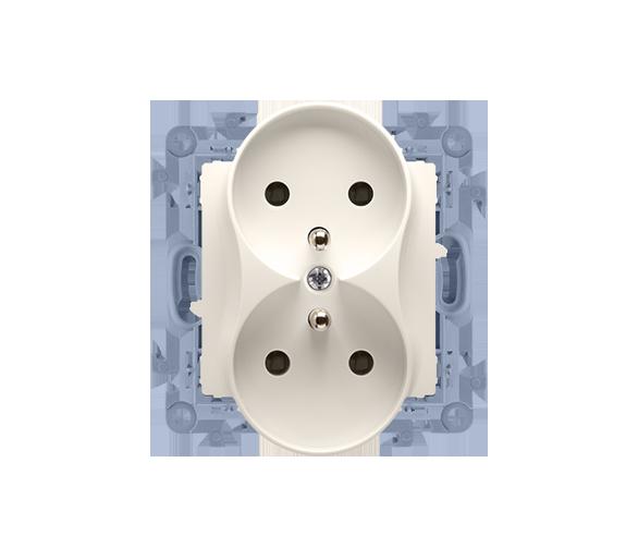 Gniazdo wtyczkowe podwójne z uziemieniem z przesłonami kremowy 16A CGZ2MZ.01/41