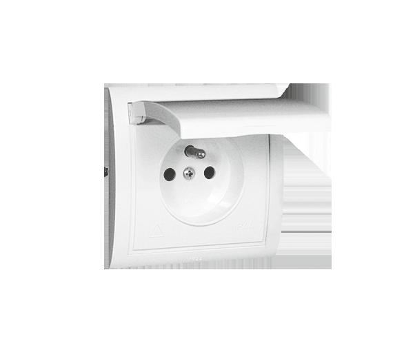 Gniazdo wtyczkowe pojedyncze w wersji IP44 z przesłonami torów prądowych -  klapka w kolorze pokrywy biały 16A MGZ1B/11